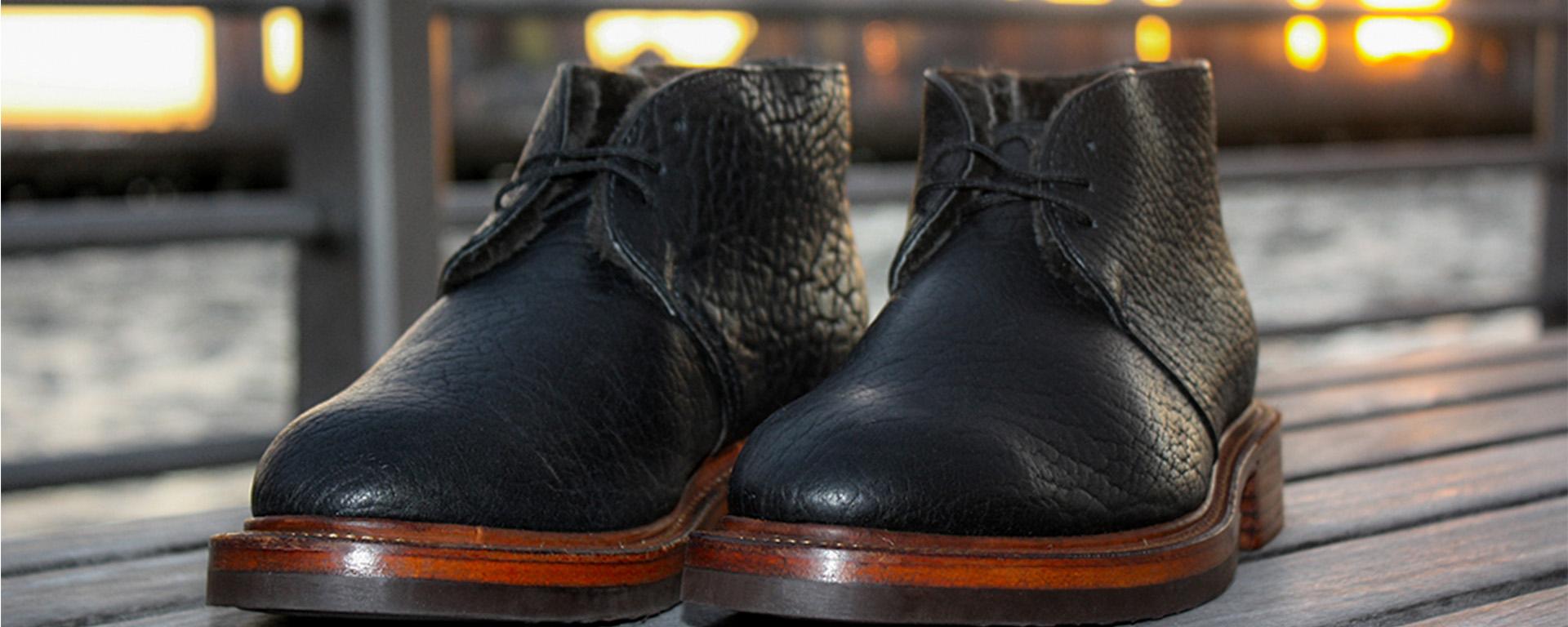 Noah Waxman American luxury shoemaker handmade Beacon chukka boots bison leather