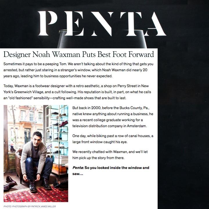 NOAH WAXMAN in Barron's Penta Magazine